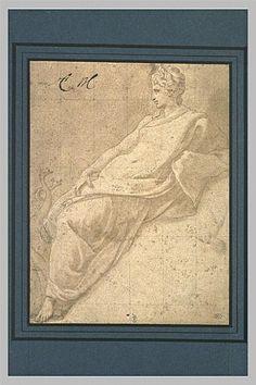 Le Primatice: Junon; plume, encre brune, lavis brun, rehauts de blanc, stylet, mise au carreau à la pierre noire et au stylet. Musée du Louvre.
