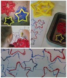 Star cookie cutter painting. #redwhitebgosh