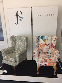 Striking chairs upholstered by Fiona Sutherland on the Old Palace landing. The one on the right was created especially for the exhibition as the fabric is called 'Kaleidoscope'