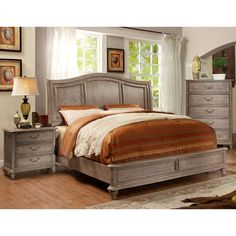 Designed to mimic a stone grey finish, this rustic bedroom set offers both style and comfort. The camelback headboard features an exquisite panel design while the nightstand and chest provides plenty