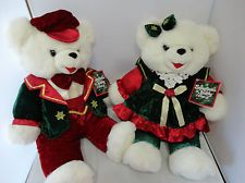 Pair DanDee Christmas Snowflake Teddy Bears Boy Girl 1998 Holiday Tags Plush