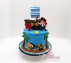 Jake and the Neverland Pirates cake. Buttercream with fondant details and fondant custom made 2D/3D Topper. www.facebook.com/Cynthias.Custom.Cakes