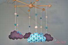 Mobile bébé nuages petites gouttes - turquoise et gris