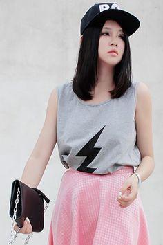 #Romwe ROMWE | Flash Grey Sleeveless Shirt, The Latest Street Fashion