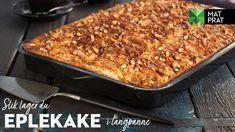 Eplekake i langpanne | Oppskrift - MatPrat Lactose Free, Macaroni And Cheese, Cake Recipes, Veggies, Cooking Recipes, Baking, Healthy, Ethnic Recipes, Desserts