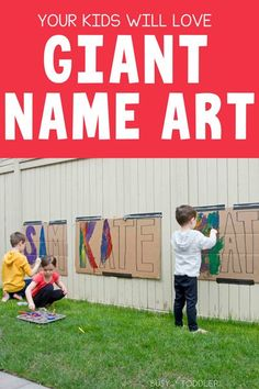 Outdoor Name Art Painting Activity for Kids - Busy Toddler Babysitting Activities, Art Activities For Toddlers, Name Activities, Painting Activities, Outdoor Activities For Kids, Outdoor Learning, Summer Activities, Preschool Activities, Outdoor Fun For Kids