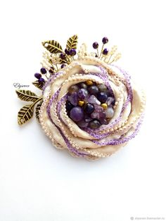 Buy brooch-rosette - purple, lilac, boho brooch, brooch-flower, ultraviolet, purple brooch