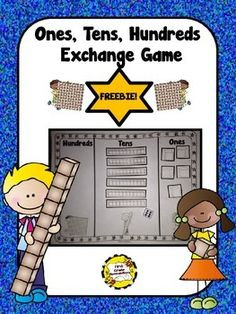 FREE!! Ones, Tens, Hundreds Place Value Exchange Game. It's perfect to help your students understand the value of ones, tens, and hundreds by exchanging/trading 10 ones (cubes) for a long (10 stick) and 10 longs/sticks for a hundred flat. So easy to play independently or against a partner. I use real Base-Ten Blocks to play in school (partners) but designed this to be used in school or sent home to practice/play with a family member.