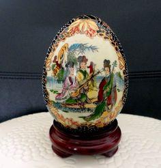 Oriental Porcelain Egg   Vintage Satsuma Egg on Wooden Stand Hand Painted Porcelain