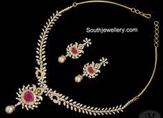diamond necklace with rubies 36gm