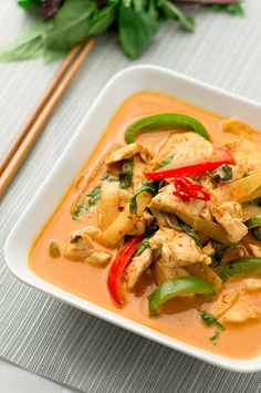 Red curry chicken. I used about 1/4 tsp ginger instead of strips, and replaced carrots with snap peas, and added a can of bamboo shoots. Otherwise followed directions and served o ER coconut rice.