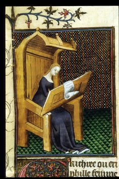 Erythraea writing. From Boccaccio, Des cleres et nobles femmes, De claris mulieribus in an anonymous French translation c. 1400-25, French (Paris). British Library MS Royal 20 C V  f. 32v
