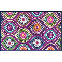 Your Zone Painters Mosaic Rug Purple 4 8 X 3