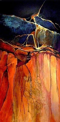 """Geologic Abstract Painting, """"Grand Canyon 1"""" © Carol Nelson Fine Art 48""""x24""""x1.5 Acrylic on Canvas"""