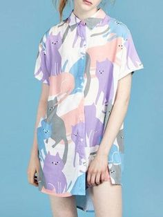 Multicolor Cartoon Cat Print Short Sleeve Longline Shirt