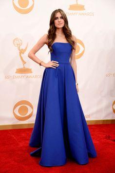 HBO Girls star Allison Williams in cobalt Ralph Lauren – 2013 Emmy Awards Red Carpet