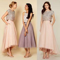 Pretty Two Pieces Cap Sleeve Sequin Top Organza Long Bridesmaid Dresses Cheap Prom Dresses, WG38