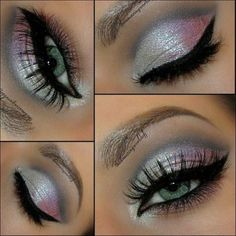 Gorgeous makeup look with black eyeliner and silver glitter eyeshadow. Gorgeous makeup look with black eyeliner and silver glitter eyeshadow. Kiss Makeup, Cute Makeup, Gorgeous Makeup, Pretty Makeup, Hair Makeup, Clown Makeup, Halloween Makeup, Halloween Ideas, Devil Makeup
