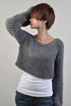 Hand knit eco cotton sweater Little cover up top in por MaxMelody