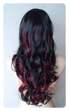 Red Hair Color : Black And Red Ombré - Beauty Haircut Black Hair With Red Highlights, Dark Red Hair, Hair Color Highlights, Hair Color For Black Hair, Green Hair, Red Peekaboo Highlights, Red Streaks In Hair, Peekaboo Hair Colors, Magenta Hair