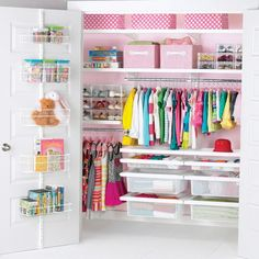Hang shelves and racks to organize kids toys, clothes, books, and blankets. See more ideas for organizing kids closets on Design Dazzle!