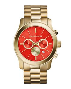 Y2BPA Michael Kors Yellow Golden Chronograph Watch, Red