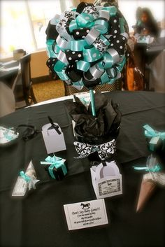 """Photo 1 of 28: Damask and Tiffany Blue / Baby Shower/Sip & See """"Nessy's Baby Shower""""   Catch My Party"""