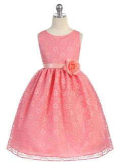 Coral Floral Lace Dress Style: Sleeveless bodice dress w/ floral lace overlay Ribbon sash w/ removable flower at waist Zipper back closure w/ tie back sash Crinoline layer & lining within Tea length Calla Collection Made in the USA Coral Flower Girl Dresses, Girls Lace Dress, Lace Flower Girls, Floral Lace Dress, Little Girl Dresses, Girls Dresses, Lace Dress Styles, Lovely Dresses, Special Dresses