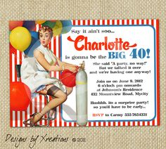 Retro Pinup Girl Invitation Birthday Wedding Bridal by Xreations, $15.00