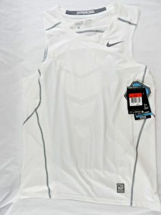 NWT Mens Nike Pro Combat Hypercool Dri Fit Fitted White Tank Top 693651 Large…