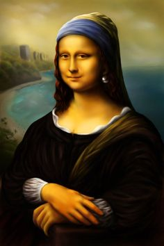 This is the combination of Mona Lisa and The girl with the pearl earring, or the Dutch Mona Lisa . Mona Lisa with a pearl earring Chef D Oeuvre, Oeuvre D'art, Girl With Pearl Earring, Pop Art, La Madone, Mona Lisa Parody, Mona Lisa Smile, Johannes Vermeer, Famous Artwork