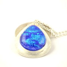 Blue Dichroicglass and sterling silver #jewelry #pendant #handmade