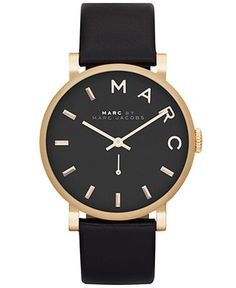 Marc by Marc Jacobs Watch, Women's Baker Black Textured Leather Strap 37mm MBM1269 - Marc by Marc Jacobs - Jewelry Watches - Macy's
