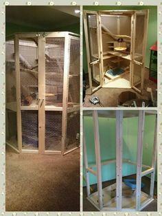 Self-made chinchilla cage