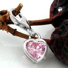 Berlock hjärta rosa zirconia Äkta Silver 03eca7f7389f3