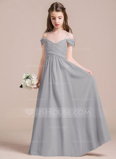 A-Line/Princess Off-the-Shoulder Floor-Length Chiffon Junior Bridesmaid Dress With Ruffle (009087895) - JJsHouse