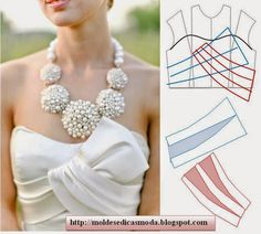 collars modeling detail and collar foot design Fashion Sewing, Diy Fashion, Ideias Fashion, Dress Sewing Patterns, Clothing Patterns, Wedding Dress Patterns, Sewing Clothes, Diy Clothes, Costura Fashion