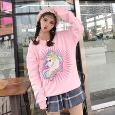 Magical Unicorn Embroidered Crewneck Sweater
