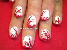 Cherry Blossoms nail art over white base colour. #nailart