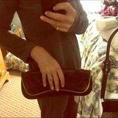 """Kooba """"Bennie"""" clutch black leather with pink/yellow/royal piping. Silver hardware. Wavy snap-flap top. Pink lining. Inside zip pocket. 5""""H x 12""""W x 2""""D. near perfect/mint condition!! Kooba Bags Clutches & Wristlets"""