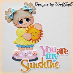 ELITE4U GIRL SUNSHINE paper piecing premade scrapbook page album title  WOLFFEY5