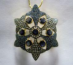 Nice Pendant Cum Brooch By Gemvanity Having Iolites, Diamonds & Blue Sapphire.  See More @ https://www.facebook.com/Gemvanity