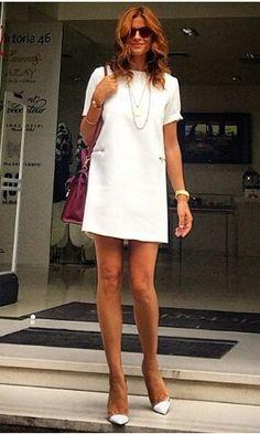 Chic | White dress @ramonfilip Ramona Filip, White Outfits, Sexy Women, White Dress, Street Style, Chic, How To Wear, Fashion Trends, Dresses