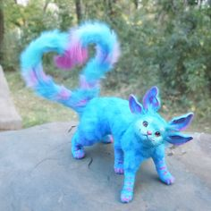Fully posable OOAK handmade cat plush toy fantasy fairy - All About Cute Fantasy Creatures, Cute Creatures, Magical Creatures, Rare Animals, Felt Animals, Mystical Animals, Colorful Animals, Cute Animal Drawings, Cute Little Animals