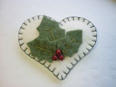 Felt Heart Brooch - Christmas Holly Pin With Red Berries