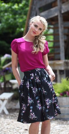 A modest, beautiful, magenta top perfect for any occasion. Dress it up or make it casual! Pictured with Black Floral Skirt.