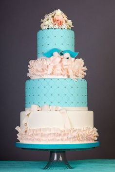 Pink & Teal Ruffle Cake by HappyCakes | Simply K Studios Photography