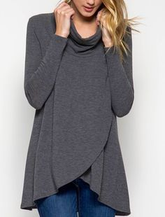 - Long Sleeve, Cozy Cowl Neck Top with Overlapping Front - 70% Cotton 30% Rayon - Knit Tunic Top- Classic, Casual and Cozy! - A Wardrobe Staple MUST HAVE! - Color is Grey - Shop our Facebook Shop! htt