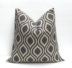 Throw Pillow Covers Gray Pillow Dark Gray ONE 26x26 Euro Pillow Sham Gray Tan Pillow Geometric Printed Fabric both sides housewares