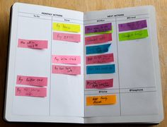 "The Sticky Note GTD Planner System [Tutorial] : pinner said, ""Very interesting article about using post it's & why author doesn't color code"" Filofax, Life Planner, Planner Ideas, Planner Organization, Sticky Notes, Printable Planner, Printables, Getting Things Done, Getting Organized"